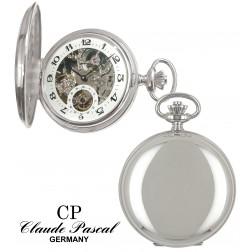 Taschenuhr Silber 925/-, Savonette, rhodiniert, poliert, PTS 9211 skelett